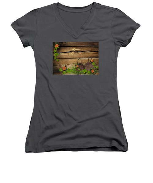 Shabby Chic Flowers In Rustic Basket Women's V-Neck (Athletic Fit)