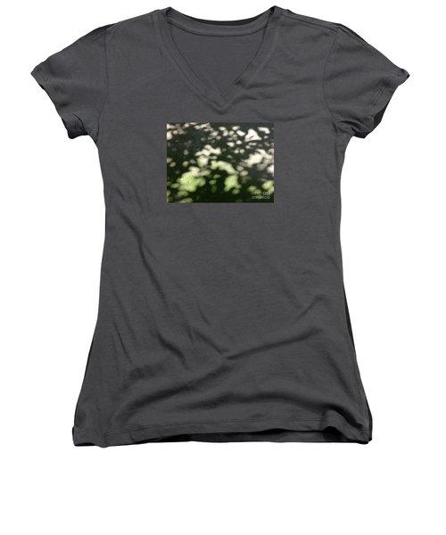 Women's V-Neck T-Shirt (Junior Cut) featuring the photograph Shaded Patterns by Nora Boghossian