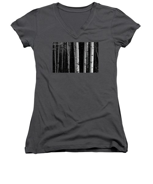 Women's V-Neck T-Shirt featuring the photograph Shades Of A Forest by James BO Insogna