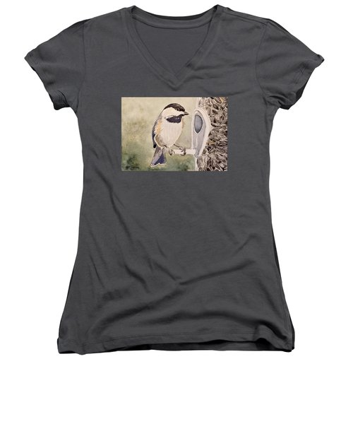 Shades Of Black Capped Chickadee Women's V-Neck (Athletic Fit)