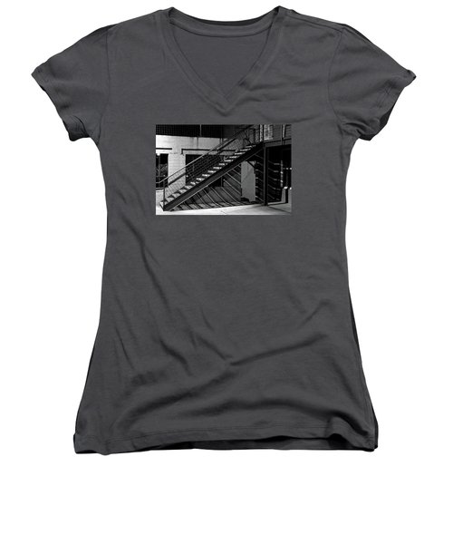 Shadow Of Stairs In Mono Women's V-Neck T-Shirt (Junior Cut) by Christopher McKenzie