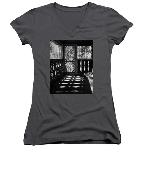 Women's V-Neck T-Shirt featuring the photograph Shadows And Bars by Alan Raasch
