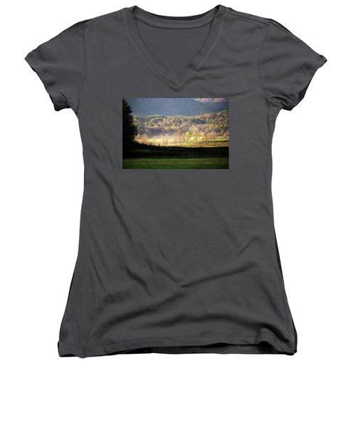 Women's V-Neck T-Shirt featuring the photograph Shadows And Mist by Alan Raasch