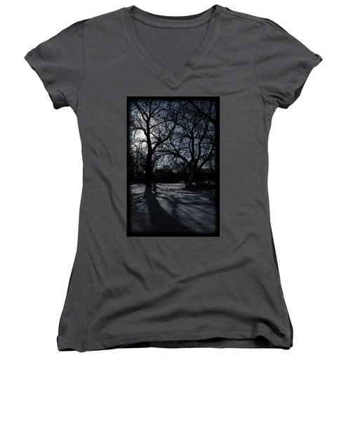 Shadows In January Snow Women's V-Neck