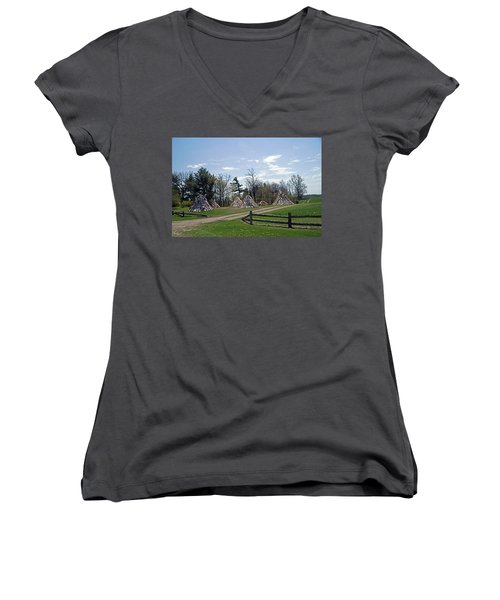 Shaker Teepees? Women's V-Neck T-Shirt (Junior Cut) by Judy Johnson