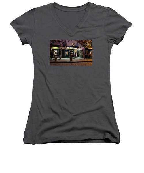 Women's V-Neck T-Shirt (Junior Cut) featuring the photograph Shakespeare Book Shop 1 by Andrew Fare