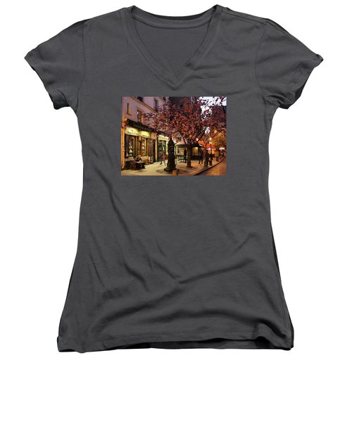 Women's V-Neck T-Shirt (Junior Cut) featuring the photograph Shakespeare Book Shop 2 by Andrew Fare