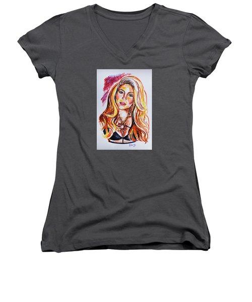 Shakira Women's V-Neck T-Shirt (Junior Cut) by Viktoriya Lavtsevich