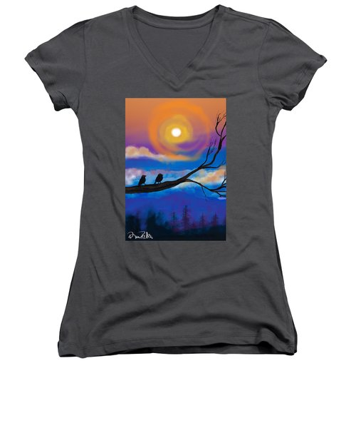 Women's V-Neck T-Shirt (Junior Cut) featuring the digital art Sharing The Sunset-2 by Diana Riukas