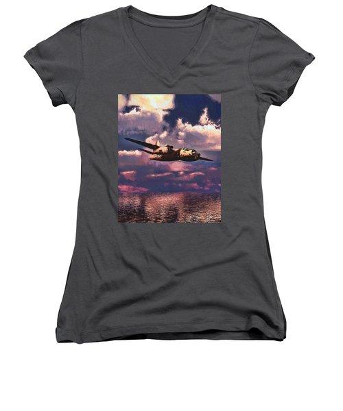 Shark On The Prowl Women's V-Neck T-Shirt
