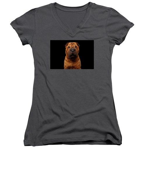 Sharpei Dog Isolated On Black Background Women's V-Neck T-Shirt (Junior Cut) by Sergey Taran