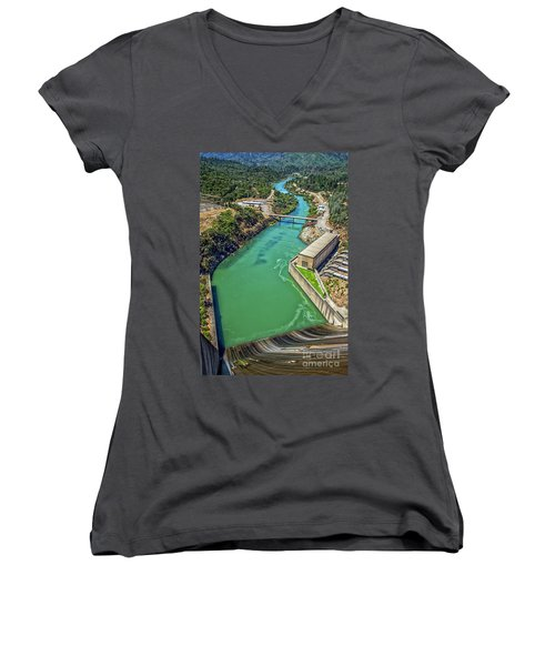 Shasta Lake Dam Women's V-Neck T-Shirt (Junior Cut) by Billie-Jo Miller