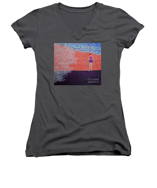 The Beach At Sunset Women's V-Neck