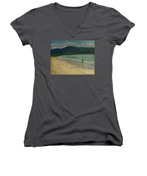 She Looks Straight Ahead Women's V-Neck T-Shirt