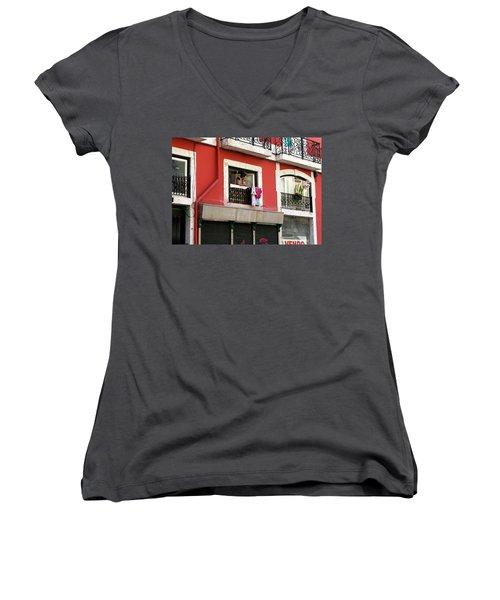 Women's V-Neck T-Shirt (Junior Cut) featuring the photograph She Takes A Break by Lorraine Devon Wilke