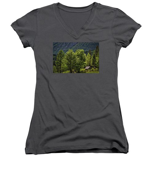 Women's V-Neck T-Shirt featuring the photograph Shed In The Slovenian Alps by Stuart Litoff