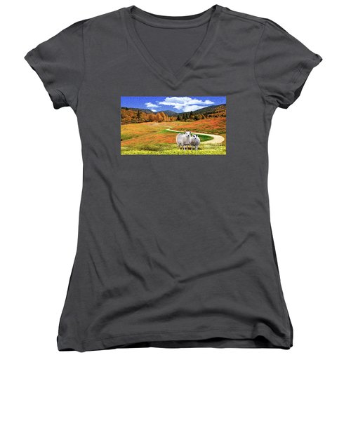 Sheep And Road Ver 2 Women's V-Neck T-Shirt