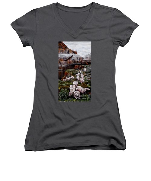 Women's V-Neck T-Shirt (Junior Cut) featuring the painting Sheep In The Mountains  by Judy Kirouac