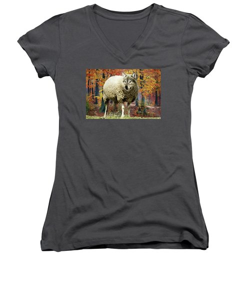Women's V-Neck featuring the painting Sheep's Clothing by Harry Warrick