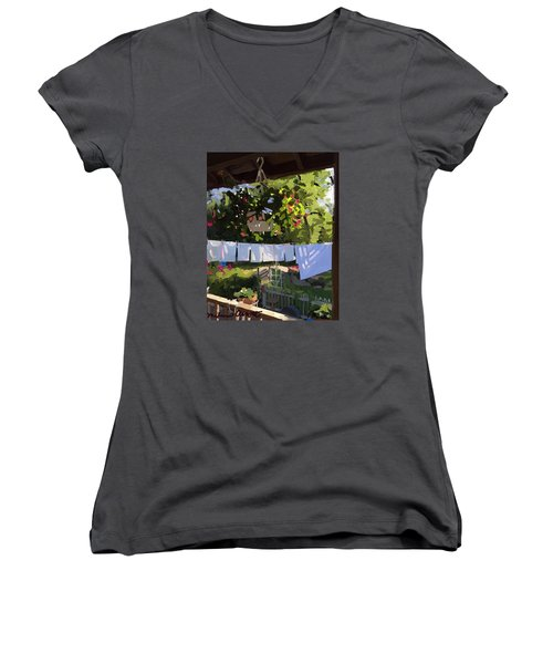 Sheets And Pillow Cases On The Line With Lantana Flowers Women's V-Neck T-Shirt