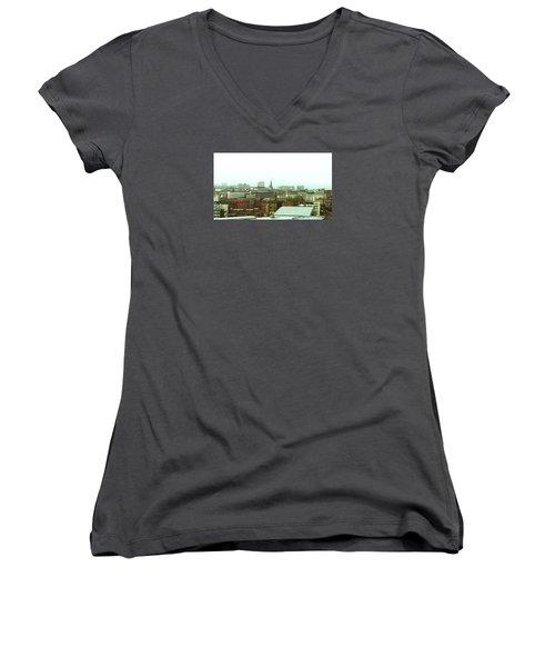 Women's V-Neck T-Shirt featuring the photograph Sheffield Skyline by Anne Kotan