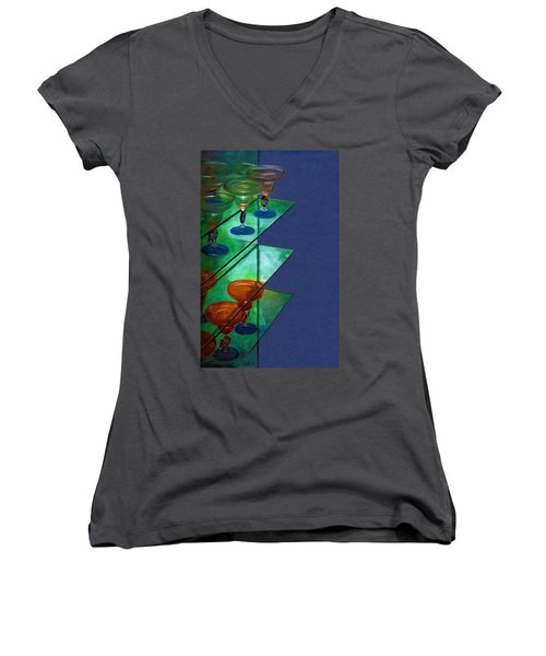 Women's V-Neck T-Shirt (Junior Cut) featuring the digital art Sheilas Margaritas by Holly Ethan