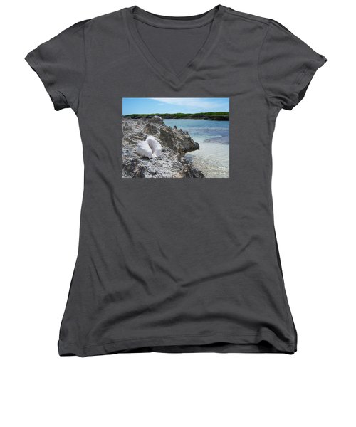 Shell On Dominican Shore Women's V-Neck T-Shirt (Junior Cut) by Heather Kirk