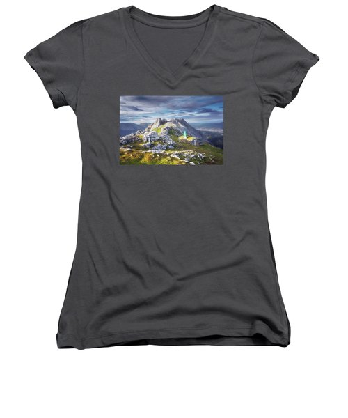 Shelter In The Top Of Urkiola Mountains Women's V-Neck