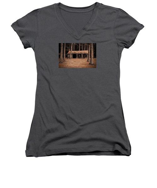 Shelter In The Woods Women's V-Neck T-Shirt (Junior Cut) by Menachem Ganon