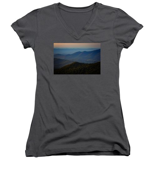 Shenandoah Valley At Sunset Women's V-Neck (Athletic Fit)