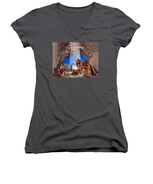 Shepherds Field Nativity Painting Women's V-Neck T-Shirt (Junior Cut) by Munir Alawi