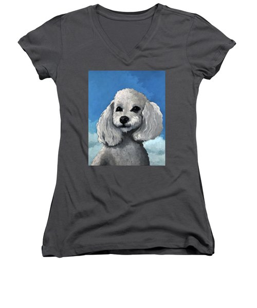 Sherman - Poodle Pet Portrait Women's V-Neck