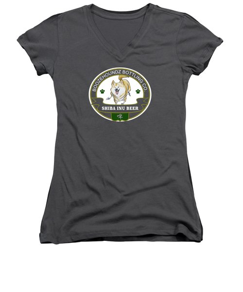Shiba Inu Beer Women's V-Neck T-Shirt