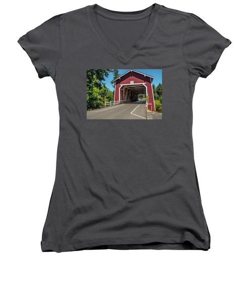 Shimanek Covered Bridge Women's V-Neck