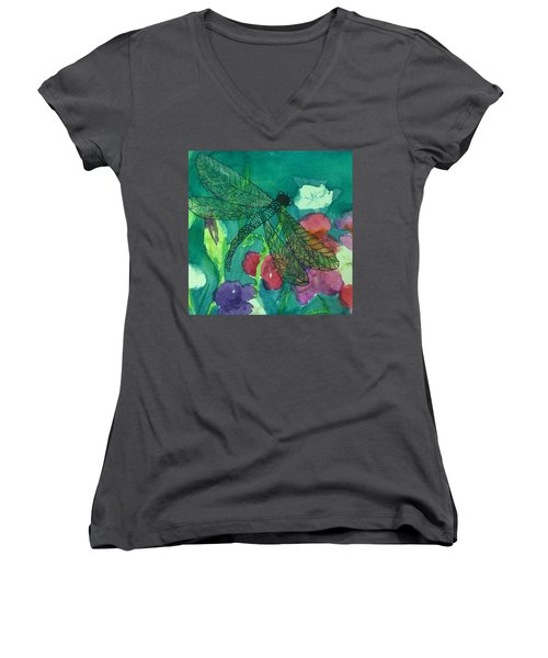Shimmering Dragonfly W Sweetpeas Square Crop Women's V-Neck T-Shirt