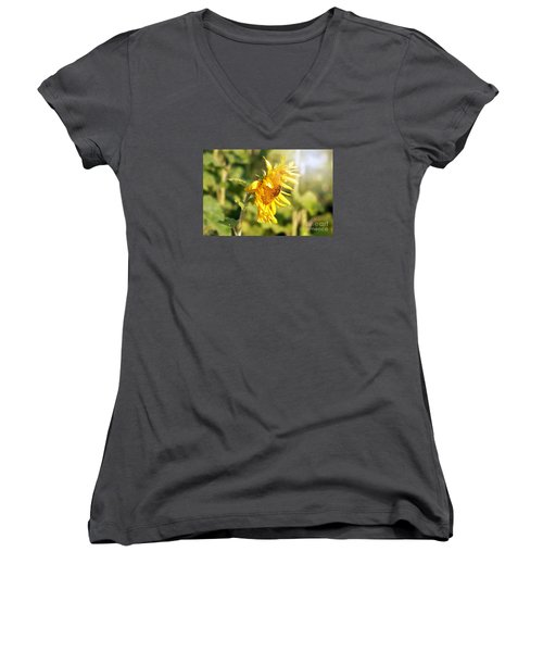 Women's V-Neck T-Shirt (Junior Cut) featuring the photograph Shining Sun by Lila Fisher-Wenzel
