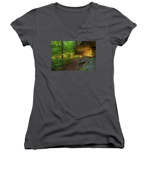Shining Through.... Women's V-Neck T-Shirt (Junior Cut) by Ulrich Burkhalter