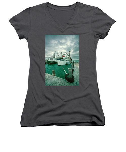 Shinnecock Fishing Vessels Women's V-Neck (Athletic Fit)