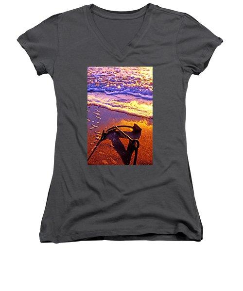 Ships Anchor On Beach Women's V-Neck