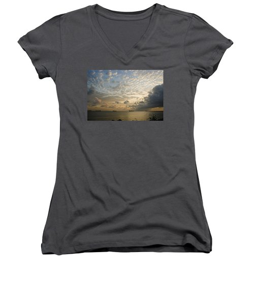 Ships In The Ship Channel.  Women's V-Neck T-Shirt