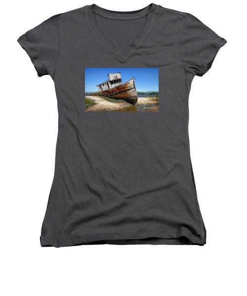 Women's V-Neck T-Shirt (Junior Cut) featuring the digital art Shipwreck by Jason Abando