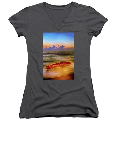 Shipwreck On The Outer Banks The End Ap Women's V-Neck T-Shirt (Junior Cut) by Dan Carmichael