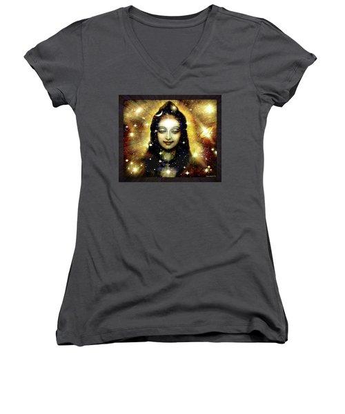 Shiva In Golden Space  Women's V-Neck T-Shirt (Junior Cut) by Ananda Vdovic