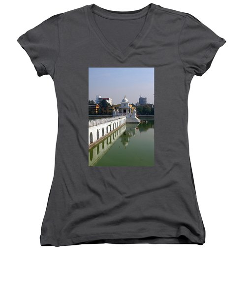 Shiva Temple In Lake Rani Pokharil, Kathmandu, Nepal Women's V-Neck T-Shirt (Junior Cut) by Aidan Moran
