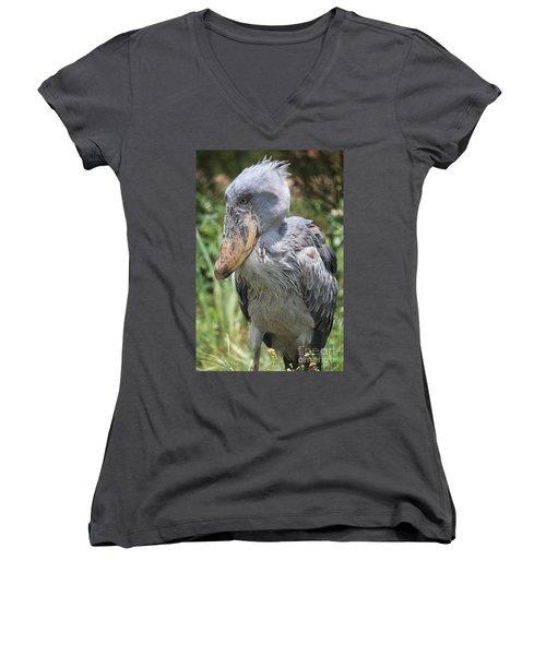 Shoebill Stork Women's V-Neck T-Shirt (Junior Cut) by Carol Groenen