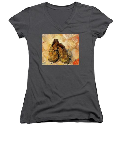 Women's V-Neck T-Shirt (Junior Cut) featuring the painting Shoes                                   by Vincent van Gogh
