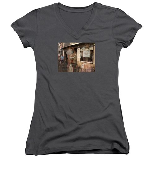Shop Window Reflection Women's V-Neck (Athletic Fit)