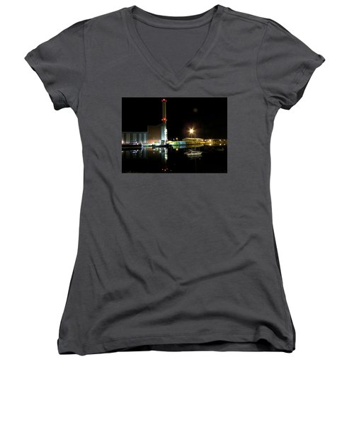 Shoreham Power Station Night Reflection 2 Women's V-Neck T-Shirt (Junior Cut) by John Topman