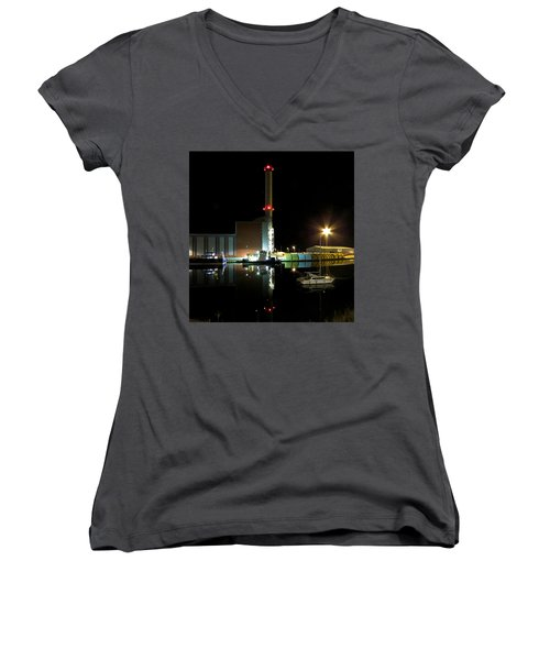 Shoreham Power Station Night Reflection Women's V-Neck T-Shirt (Junior Cut) by John Topman