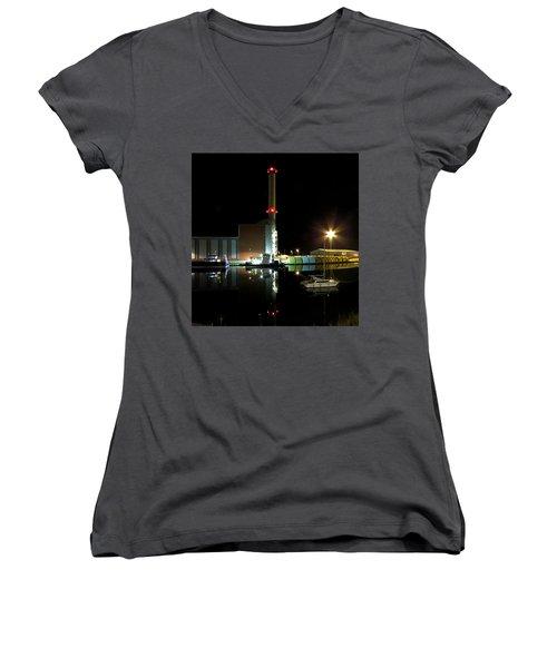 Shoreham Power Station Night Reflection Women's V-Neck T-Shirt